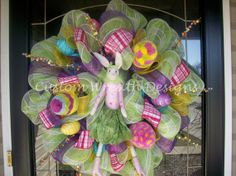 Easter Bunny Mesh Wreath by lilmaddy12 on Etsy, $95.00