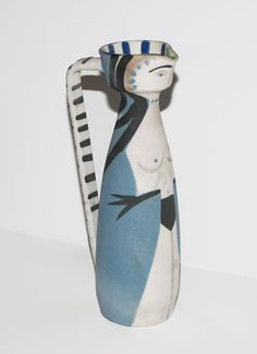 Woman, 1955 Artist: Picasso, PabloReference: Ramié 297Medium: OriginalOriginal: The artist of the design has worked on the creation of the work him/herself, as opposed to reproductions that occur without the artist's involvement… more Madoura turned pitcher of white earthenware clay with decoration in engobes; glazed inside.