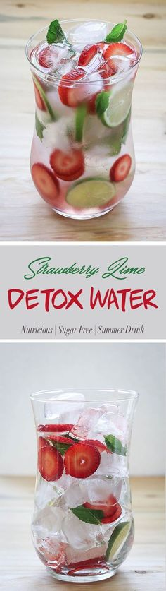 Infuse your drinking water with fresh strawberries and lime to make this strawberry detox water. It will help you stay hydrated during those warm summer days. #DetoxDrinksStrawberry #DetoxDrinksAlcohol