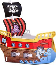 Barco Pirata Gigante.  Juego de cartón impreso con encastres.