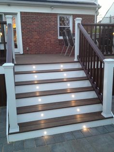 Discover 22 Admirable Trek Deck Ideas about Home Interior Design, Deck Design Ideas For House & How to Build Beautiful House from Westernerieideas Patio Steps, Front Porch Steps, Front Stairs, Porch Stairs, Exterior Stairs, Deck Step Lights, Trek Deck, House Ideas, Outdoor Stairs