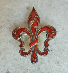 Antique Red Enameled Sterling Fleur de Lis Watch Pin by BlueGrotto, $150.00
