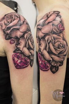 femine girly shoulder tattoo realistic roses and pink diamond hearts  black and gray flowers tattoo