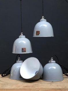 Small Enamel Benjamin Industrial pendants, Antique Lighting, Drew Pritchard