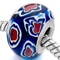 European Bead Single Core Red White Blue by SugarPieDesignsByKK, $2.50