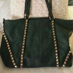 I just added this to my closet on Poshmark: MMS GREEN TOTE WITH GOLD STUDS…