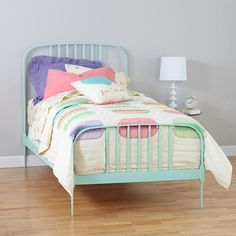I love the mint green bed frame!  And there's a full size!