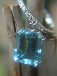 Blue Topaz Dangling from Platinum Diamond by EklekticJewelry, $2532.00