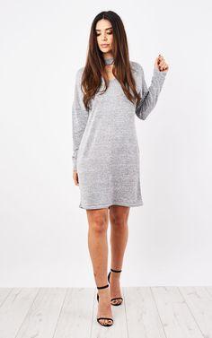 Grey Choker Neck Knitted Dress - SilkFred