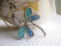 Dragonfly Necklace, Blue Dragonfly, Stained Glass Dragonfly