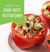 Avocado, Cucumber and Basmati Salad-Stuffed Peppers. A fresh twist on stuffed peppers for summer.