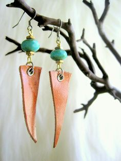Unique Handcrafted Leather Jewelry Feather Earrings Faceted Turquoise Glass Rondelle Free US Shipping. $30.00, via Etsy.
