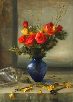 by Juliette Aristides (artist) Juliette Aristides, Social Art, Still Life Art, Arte Floral, Beauty Art, Artist Art, Painting Inspiration, Sculpture Art, Flower Art