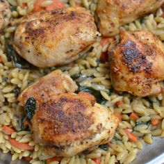 One Skillet Savory Chicken and Orzo | Small Town Woman
