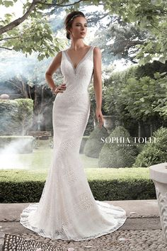 Sophia Tolli Aquarius - Allover lace V-neck fit and flare wedding dress. Sleeveless guipure lace over soft satin lightweight fit and flare gown with deep V-neckline, illusion lace V-back features zipper trimmed with diamante buttons, court length train. Elegant Wedding Gowns, White Wedding Dresses, Wedding Dress Styles, Dress Wedding, Bridesmaid Dresses, Mon Cheri Bridal, Fit And Flare Wedding Dress, Bridal And Formal, Bridal Gowns