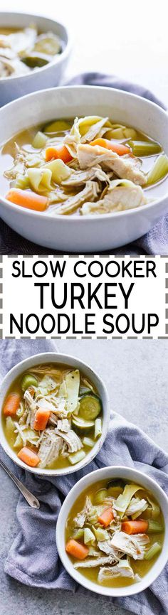 Slow Cooker Turkey Noodle Soup! Perfect for that leftover Thanksgiving turkey. It's also a great detox soup! Healthy and delicious!