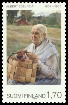 Postage stamp depicting a painting by the Finnish artist Albert Edelfelt - http://commons.wikimedia.org/wiki/File:Albert-Edelfelt-1987.jpg#mw-jump-to-license