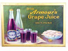 Advertising Armour's Grape Juice Tin Over Cardboard Sign