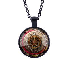 Gear Dial Pattern Time Gem Pendant Necklace