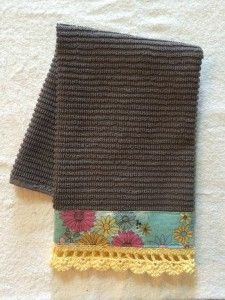 """Gray Bar Mop Kitchen Towel embellished with a modern vintage floral fabric band and yellow hand crocheted edging.  16"""" x 18"""" 100% cotton towel."""