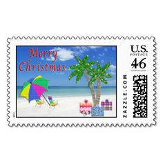 Beach Stamps for Christmas and matching Beached Themed Christmas Cards and Postcards.  Beach Christmas Cards and Gifts. To view ALL of my Original Designs for Beach Christmas Cards, Ornaments and other Tropical Christmas  Cards and Gifts please CLICK HERE: http://www.zazzle.com/littlelindapinda/gifts?cg=196208599071599335&rf=238147997806552929*/    ALL of Little Linda Pinda Designs CLICK HERE: http://www.Zazzle.com/LittleLindaPinda*/