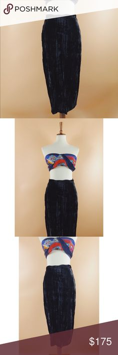 """Vtg 80s Black Velvet Pencil Paris Midi Skirt SM This is a gorgeous vintage black velvet high waisted pencil skirt. Labeled a vintage medium. Best fits a size small. Lined. Made by Germain In Paris. Back zipper. Measured laying flat: waist 14""""/ hips 18.5""""/ skirt length 32""""/ skirt slit on back 12.5."""" Dry clean only. Gently used and in great condition. 112717 vintage Skirts Pencil"""