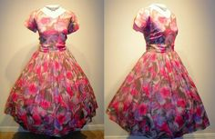 1950s Watercolor OMBRE ROSES Pink And Purple Cocktail Dress Vintage 50s Couture RARE Rose Print Vixen Wedding Bombshell Party Dress