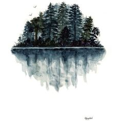 Original Watercolor Painting Forest Lake Reflection Birds Landscape... ❤ liked on Polyvore featuring home, home decor, wall art, water painting, tree silhouette painting, black tree, landscaping trees and lake wall art