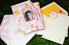 Beautiful letterpress baby announcements with edge painting