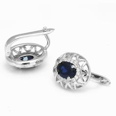 2.5ct Gem Blue Sapphire Earrings Hoop For Women Only $98.99 => Save up to 60% and Free Shipping => Order Now! #Bracelets #Mystic Topaz #Earrings #Clip Earrings #Emerald #Necklaces #Rings #Stud Earrings