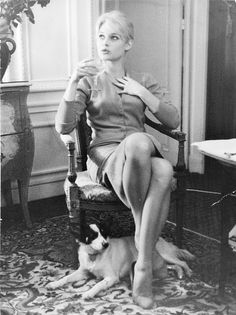 Brigitte Bardot with her dog Guapa in the Hotel Negresco in Nice, Bridgitte Bardot, Charlize Theron, Glamour Photo Shoot, And God Created Woman, Serge Gainsbourg, Classic Beauty, Retro, Old Hollywood, Movie Stars