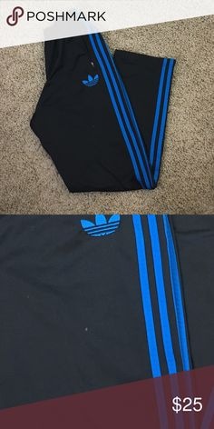 Men's Adidas Workout Pants Classic Adidas Men's work out pants. Black with Blue stripes. Tiny imperfection captured in second picture. Not noticeable. Preowned and PreLoved. adidas Pants