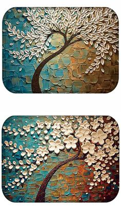 Home Painting Tree Pattern Coral Flannel Floor Mat Living Room Mat Door Mat Non-slip Mat