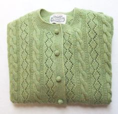 Light Green Wool Cable Cardigan Sweater Villager 1960s by LinensandThings, $60.00