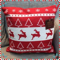 Christmas Tapestry Cushion Cover - Red Reindeer
