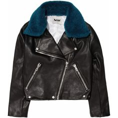 Acne Rita detachable contrast-collared leather jacket found on Polyvore