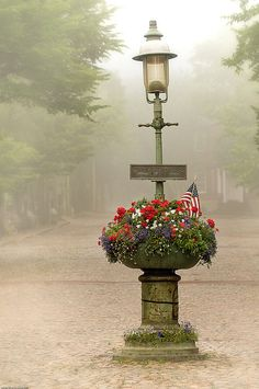 Prime example of nantucket fog on Main Street. Nothing is more beautiful then seeing nantucket fog before noontime. Nantucket Island, Nantucket Style, Street Lamp, Main Street, Cape Cod, New England, Lanterns, Places To Go, Beautiful Places