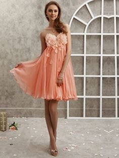 Coral Bridesmaid dress, something like what I want (flowers on the top, sweetheart neck)