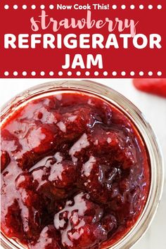 This quick and easy homemade Strawberry Refrigerator Jam is made with just three simple ingredients, has no added pectin, and only takes 30 minutes. This recipe makes a small batch of deliciously sweet jam that you store in the refrigerator or freezer, so no canning required! #strawberryjam #refrigeratorjam #freezerjam #strawberryrecipes | nowcookthis.com