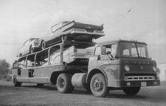 Ford C model cab over pulling car trailer Cool Trucks, Big Trucks, Cool Cars, Semi Trucks, Tow Truck, Classic Trucks, Classic Cars, Classic Auto, Old American Cars