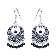 German Silver Round Earrings with Black Beads