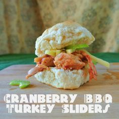 Giada's Leftover Turkey Sliders with Cranberry BBQ Sauce. A fun, unique way to use your Thanksgiving leftovers when you are tired of the same old sandwich. Turkey Burger Sliders, Turkey Sandwiches, Thanksgiving Leftovers, Thanksgiving Recipes, Turkey Meatballs Crockpot, Bbq Turkey, Bbq Sandwich, Leftover Turkey, Leftovers Recipes