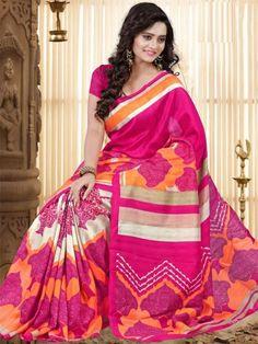 Stylish Pink Bhagalpuri Silk Saree