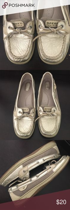 Gold Sperry Top-siders Gold Sperry Top-siders. Hardly worn. Very slight signs of wear. Let me know if you have any questions! All sales final. Prices are flexible - make me an offer! Sperry Top-Sider Shoes