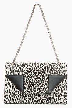 SAINT LAURENT Black calf-hair leopard print Betty 2 Medium bag