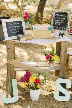 Leave well wishes -- can be a cork board with thumb tacks and square notes and markers  rustic backyard wedding wishes table ideas | Deer Pearl Flowers