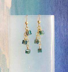 Crystal cube earrings teal aurora borealis AB by WendyShrayDesigns