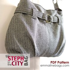 Steph In The City Bag PDF Purse Pattern - Handbag, Shoulder Bag or Hobo Bag Pattern. $9.50, via Etsy.