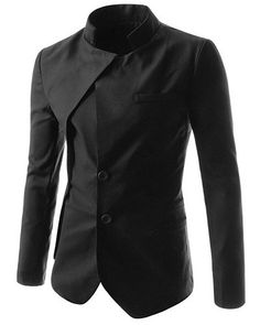 Irregular Hem Solid Color Stand Collar Long Sleeves Faux Twinset Blazer For Men