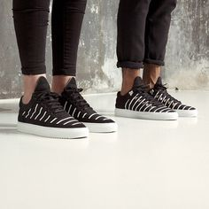 """Cop @fillingpieces' """"Black/White Mesh Striped"""" sneakers with premium black tanned soft nubuck uppers, striped mesh, laser cut leather straps, and Margom vulcanized rubber Kobe Ripple sole. Now 30% off at the #hypebeaststore."""